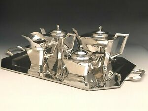 Fabulous Art Deco 5 Piece Sterling Silver Tea Set With Tray Feisa Co Mexico