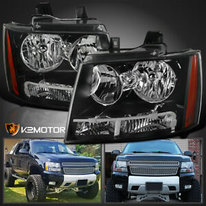 For 2007 2013 Chevy Avalanche 07 14 Tahoe Suburban Black Headlights Lamps L R
