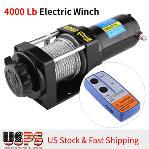 12v Portable Electric Winch Towing Boat Atv Truck Trailer 4000lb Remote Switch