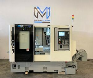 Quicktech I42 twin 7 Axis Cnc Turning Lathe Sub Live Tool B C Y Axis Nakamura