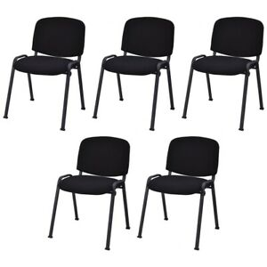 5 Pcs Office Conference Chair Guest Waiting Room Reception W ergonomic Backrest