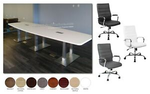 12 Ft Foot Conference Table Has Metal Legs Grommets And 10 Chairs Set 8 Colors