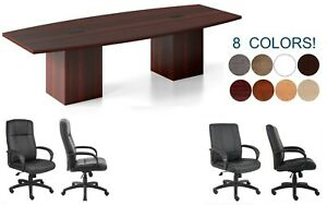 10 Ft Foot Conference Table And 8 Chairs Set With Grommets And Legs Have Doors