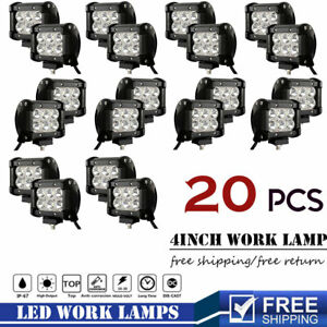 20p 4 inch 18w Spot Led Work Lights Headlight Offroad Fits Ford Chevy Truck