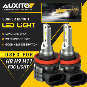 2x Auxito H11 H16 H8 Led Fog Driving Light 6000k Super Bright Bulb Drl White L3a