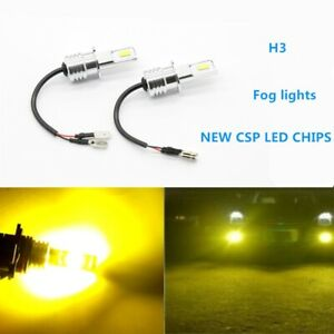 Super Bright H3 Csp Led Fog Light Bulbs Conversion Kit 55w 6000lm 3000k Yellow