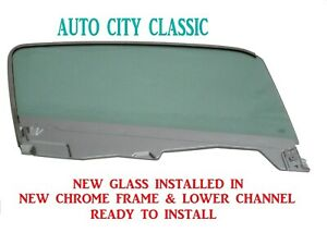 Door Glass 1965 1966 Mustang Fastback Green Tint Right Side In Chrome Frame