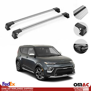 Roof Rack Cross Bars Luggage Carrier 2 Pcs Silver Set For Kia Soul 2020 2021