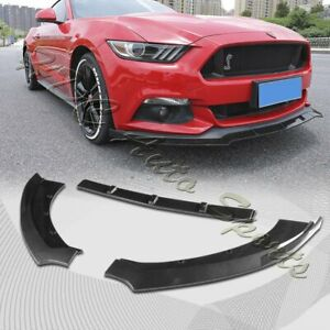 For 2015 2017 Ford Mustang Carbon Look Front Bumper Body Kit Spoiler Lip 3pcs