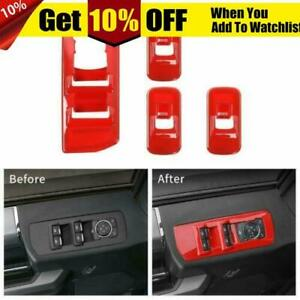 Red Window Lift Panel Switch Covers Trim For Ford F150 2015 2018 Accessories