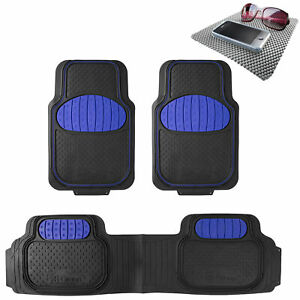 Blue Black Heavy Duty Floor Mats From Fh Group For Auto Car W Free Dash Mat