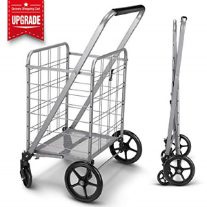 Released Grocery Utility Folding Shopping Cart With 360 Rolling Swivel Wheels