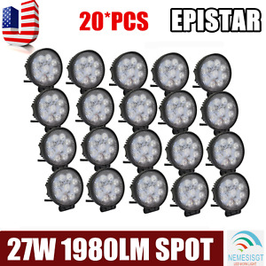 20x 4 Square Led Fog Flood Lights 27w Offroad Boat Tow Truck Lamp Work Light