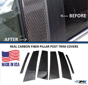 Real Carbon Fiber Pillar Posts Trims Covers For Nissan Maxima 2004 2008 6pcs