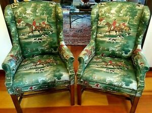 A Pair Of Wing Back Chairs In Horse And Hound Equestrian Fabric So Ralph Lauren