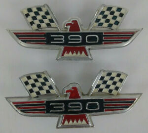 390 Thunderbird Emblems Ford Fender Badges Lot Of 2