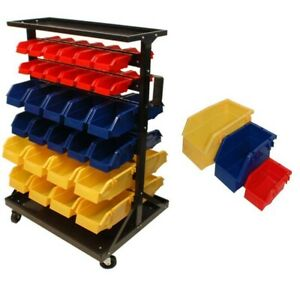 60 Removable Bins Bin Mobile Rack With Wheels Parts Storage Organizer