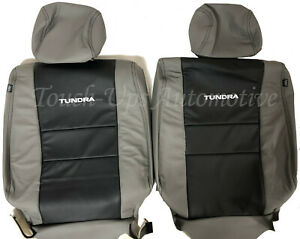2007 13 Toyota Tundra Double Cab Crewmax Alea Leather Seat Covers Kit Black Gray