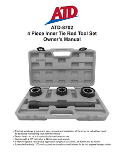 Atd 8702 Inner Tie Rod Removal Installation 4 Piece Tool Set With Molded Case
