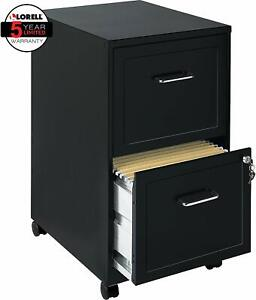 Lorell File Cabinet Black 2 Drawer Metal Plastic Mobile Vertical Filer Pedestal