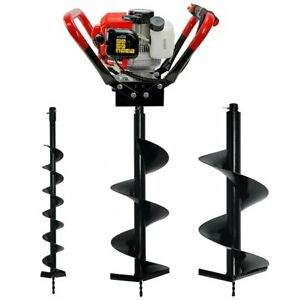 55cc 2 stroke Earth Auger Post Hole Digger With 3 Drill Bits Gas powered Fence