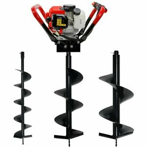 Post Hole Digger Auger 2 stroke Gas 55cc Engine With 6 10 12 Drilling Bits