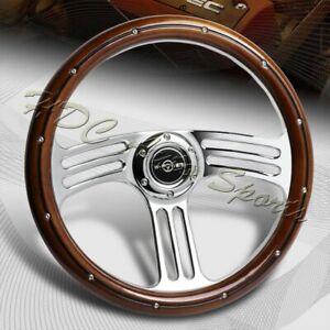 W power 350mm 14 Dark Wood Grip 6 hole Chrome 3 spoke Vintage Steering Wheel