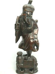 Antique Carved Rosewood Chinese Asian Wise Man Statue Figurine Handcarved 12