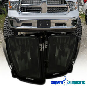 For 2013 2018 Dodge Ram 1500 Smoke Bumper Driving Lamps Fog Lights W Switch