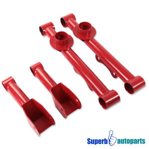 For 79 04 Ford Mustang Rear Lower Upper Red Carbon Steel Control Arms 4pc
