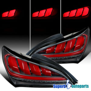 For 2010 2016 Hyundai Genesis Coupe Sequential Led Black Red Bar Tail Lights
