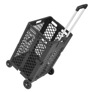 4 Wheels Utility Cart Hand Crate Collapsible Mesh Rolling 55lbs Heavy Duty Black