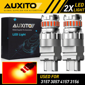 2x Auxito 3157 3457 Led Brake Light Bulb Red Tail Stop Strobe Blinking Flash 2f3