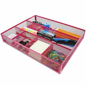 Pink Mesh Metal Office Desk Drawer Organizer Tray 15 X 12 X 2 5 Inches