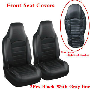 Universal 2x Black With Gray Line High Back Bucket Car Front Seat Cover Cushions