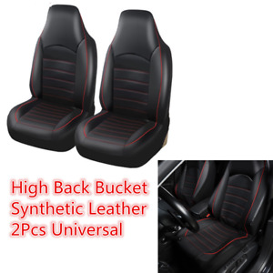 Front High Back Bucket Car Seat Cover Protector Black Leather 2pcs Universal