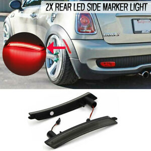 For 2007 2016 Mini Cooper Smoked Brilliant Red Rear Side Marker Lamps Led Lights