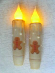 2 Gingerbread Man Design Timer Taper Candles Grungy Cream Primitive 4 5 Tall