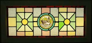 Old English Leaded Stained Glass Window Transom Victorian Hp Swan 30 25 X 14
