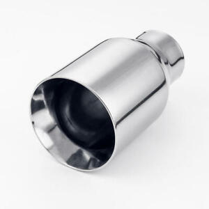 2 5 Inlet Weld On Exhaust Tip Straight Cut 4 Outlet Round 304 Stainless Steel