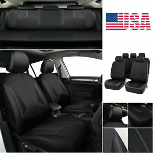 Universal Car Seat Cover Front rear Set Pu Leather 5 sit Covers For All Seasons