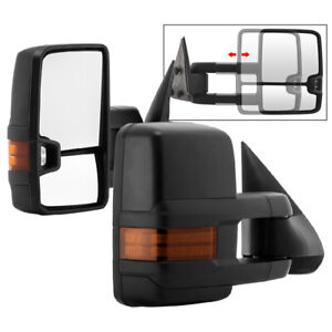 For 99 06 Silverado Sierra Tahoe Dual Arm Telescoping Manual Tow Mirrors Set