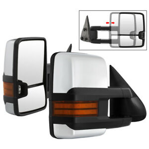For 99 06 Silverado Sierra Avalanche Dual Arm Manual Chrome Side Tow Mirrors