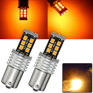 2x Amber yellow 1156 Ba15s 2835 15w Error Free Car Led Turn Signal Light Bulbs