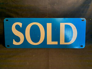 Vtg Collectible Double Sided Blue And White Sold Realtor Realty Metal Tin Sign