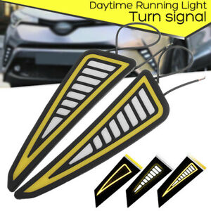 Car Led Bumper Strip Cob Daytime Running Light Yellow Turn Signal Daylight Drlfl