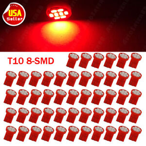 50x Red T10 8smd Led Interior Dash Instrument Panel Light Bulbs W5w 194 168 192