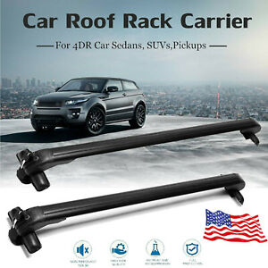 Universal Aluminum Car Roof Rack Cargo Luggage Carrier Bar W anti theft Lock New