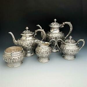 Repousse By Kirk Stieff 5pc Sterling Silver Tea Set 474f Rare Ca 1925 1932