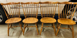 Ethan Allen Heirloom Maple Dining Chairs Set Of 4